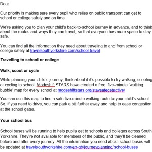 Letter to parents from schools regarding school bus services