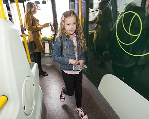 Child boarding the bus